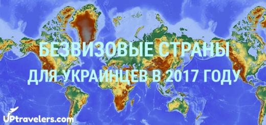 Безвизовые страны для украинцев в 2017 году